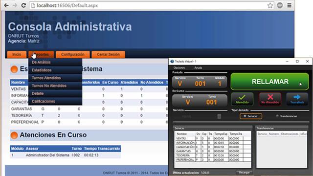 Sistema ONRUT Turnos - Teclado Virtual y Consola Web